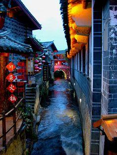 Stream at Dusk, Lijiang, China
