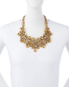 Gold-Plated Teardrop Bib Necklace