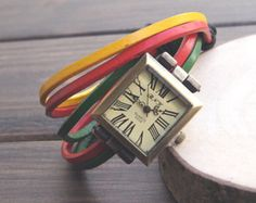 Vintage de couro trançado feminino pulseira de quartzo Roma assistir, Homens relógio de pulso, presente da festa de aniversário