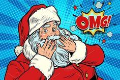 OMG surprise Santa Claus reaction Cartoon Grandma, Desenho Pop Art, Pop Art Illustration, Pop Characters, Retro Pop, Cool Backgrounds, Merry Christmas And Happy New Year, Christmas Images, New Art