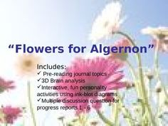 This power point allows students to actively be engaged from beginning to end. The power point includes: pre-reading journal topics Brain anal. Flowers For Algernon, Journal Topics, From Beginning To End, English Language Arts, Short Stories, Peace And Love, Teaching, Activities, Education
