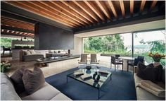 homes glass stone wood and steel - Google Search