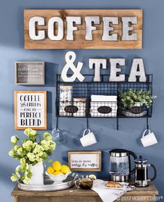 Be your own barista with a stylish at-home coffee and tea bar! Be your own barista with a stylish at-home coffee and tea bar! Coffee Area, Coffee Nook, Coffee Bar Home, Home Coffee Stations, Coffee Corner, Iced Coffee, Coffee Tables, Beautiful Kitchen Designs, Beautiful Kitchens