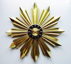 "Another Welby clock, this one 27"" diameter and blindingly gold! #sunburstclock #starburstclock"