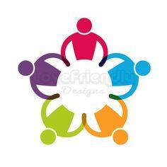 Custom Logo Design Premade Logo Children group round in circle logo clip art. Concept for a nursery, teamwork, social business, friendship