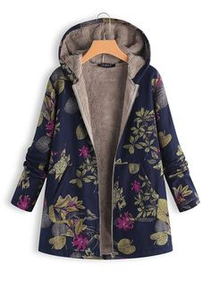 Women Faux Fur Hooded Parka Coat Floral Print Side Pockets Manteau Femme Hiver 2018 Warm Vintage Casual Long Coat Outwear Size S Color Dark Blue Winter Jackets Women, Coats For Women, Plus Size Winter, Plus Size Vintage, Plus Size Coats, Oversized Coat, Vintage Coat, Vintage Jacket, Sweatshirts