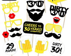 5-Piece Dirty Thirty Photo Booth Prop Set 30th by CleverMarten  https://www.djpeter.co.za