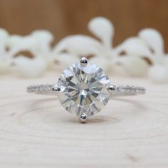Round White Moissanite Engagement Ring,Solitaire White Gold Wedding Ring,Charles & Colvard Forever One Moissanite Gift Ring White Gold Wedding Rings, White Gold Rings, Best Diamond, Diamond Cuts, Diamond Nose Stud, Diamond Rings, Diamond Stores, Moissanite Diamonds, Rose Gold Engagement Ring
