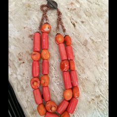 V-Day SpecialVintage red coral necklace Vintage red coral necklace with copper clasp.   Was told it is natural and not dyed. Vintage Jewelry Necklaces