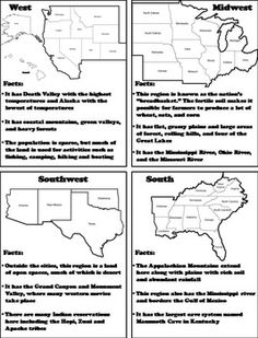 Five Regions of the United States: US Geography Interactiv Us Geography, Geography Activities, Social Studies Worksheets, 4th Grade Social Studies, Geography Interactive Notebook, Ss Lesson, Fall Coloring, Free Homeschool Curriculum, Teachers Aide