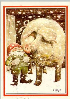 Gnome and pig friend. Swedish Christmas, Noel Christmas, Scandinavian Christmas, Baumgarten, Kobold, Pig Art, Scandinavian Art, Nordic Art, Fairytale Art