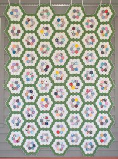 1930's Flower Garden Quilt, Hand Quilted, Grandmother's Flower Garden, Depression Era Quilt, Excellent Condition on Etsy, $315.00