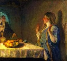 The Visitation (also known as Mary Visiting Elizabeth), by Henry Ossawa Tanner (c. 1909-1910), Kalamazoo Institute of Arts, oil on canvas.  (from The Athenaeum)