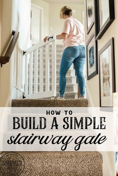 How to build a stylish stairway gate to keep pets or kids out! This easy DIY gate tutorial will look great and blend with your traditional decor. We keep our dog off the carpet with this pet gate. baby gate for stairs Diy Gate, Diy Dog Gate, Barn Door Baby Gate, Diy Baby Gate, Staircase Gate, Dog Gates For Stairs, Stairways, Gates For Dogs, Wooden Stair Gate