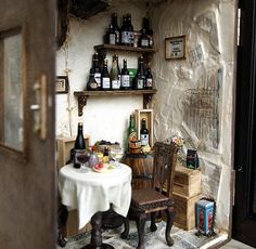 Vintage SMaLL CouNTRY WiNe SHoP ____WiNe BaR ____Handmade Dollhouse Miniatures ____byDollhouseAra $749