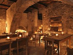 Fabulous dining in a converted medieval village now turned hotel in Italy.