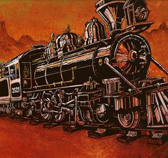 The 2521 roars down the rails as the engineer and mechanic try to stave off an unruly skeleton gang. Painting Process The 36 x 18 cradled clayboard was painted with orange and yellow acrylics and then