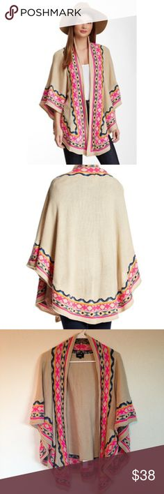 Fate Boho Poncho - Vibrant Tribal Print Fate poncho from Nordstrom with boho tribal print in hot pink, blue and yellow. Excellent condition. One size. Fate Sweaters Shrugs & Ponchos