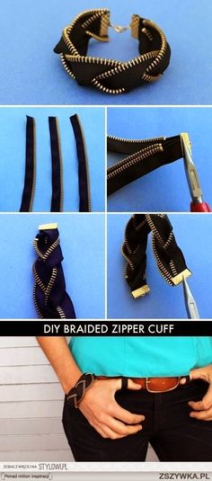 Who knew zippers could make for such awesome arm candy? This kit includes everything you need to make four zipper friendship bracelets and one zipper cuff. Kit makes four single zipper bracelets and one braided black brass zipper bracelet. Diy Tresses, Zipper Bracelet, Diy Bracelet, Bracelet Tutorial, Gemstone Bracelets, Ankle Bracelets, Diy Zipper Earrings, Diy Zipper Jewelry, Emerald Bracelet