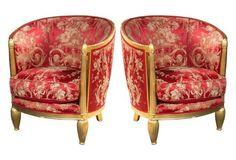 Art Deco Barrel-Back Chairs, Set of 2
