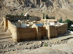 The Orthodox monastery of St Catherine (Santa Katarina), one of the oldest working Christian monasteries in the world, was built during the 6th century at the foot of Mt Sinai, which is the mountain where the Ten Commandments were given to Moses by God, in the Book of Deuteronomy).  Sinai Peninsula, Egypt