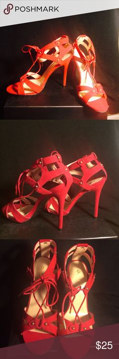 New Suede red sandal heels Red, suede very sexy!!!!! New never worn! Qupid Shoes Heels