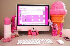 Pink Desktop, pink lipstick, #cute #imac #pinterest #kawaii