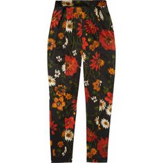 Jil Sander Warp-print silk-satin pants (845 CAD) ❤ liked on Polyvore featuring pants, bottoms, trousers, jeans, multi color pants, patterned trousers, print trousers, dressy pants and highwaisted pants