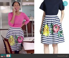 Rainbow's striped and floral skirt on Black-ish.  Outfit Details: http://wornontv.net/52016/ #Blackish