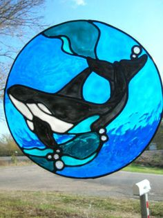 Orca in the Ocean stained glass window Cling by windows2thesoul, $8.00