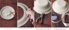 paper plate and bowl hat (use crepe paper for ribbon, and tissue or construction paper cricut flowers)