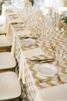 Chevron sequin tablecloth: http://www.stylemepretty.com/california-weddings/san-francisco/2014/12/04/elegant-san-francisco-wedding-at-the-st-francis-yacht-club/   Photography: Carmen Holt - http://carmenholt.com/