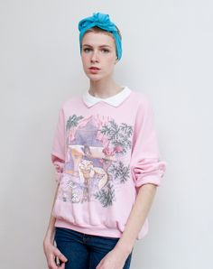 vintage cat sweatshirt / novelty print / built in collar