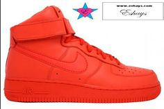 Custom Red Hi-Top Nike Air Force Ones