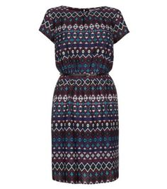 Blue and Maroon Aztec Jacquard Belted Dress