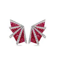 Oriental Art Deco Fan -ruby & diamond earrings by Sharart Design http://www.sharartdesign.com