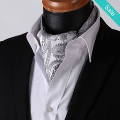 dc858c48a69e On Sale for $65.99 (was $72.99) - Grey Silver Paisley Silk Ascot and  Handkerchief