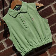 Polo Shirt Refashion, Polo Shirt Outfit Women's, Polo Shirt Women, Thrift Store Diy Clothes, Polo Ralph Lauren, Pastel Outfit, Cool Summer Outfits, Crop Top Outfits, Crop Shirt