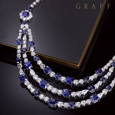 A work of art - Swirling white diamonds complement richly coloured sapphires, with each stone handset to reflect light and emphasise rich colour in this unique three-row #GraffDiamonds' necklace. #Sapphires #Diamonds