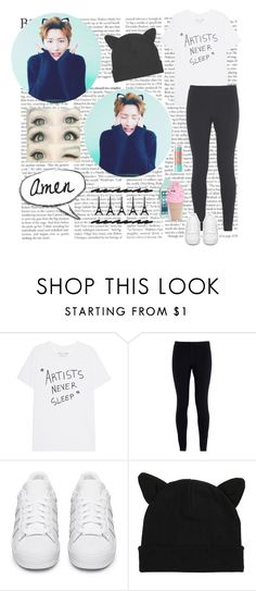 """""""I.M - Monsta X"""" by typical-ghoul ❤ liked on Polyvore featuring NIKE, adidas Originals, Kate Spade and Maybelline"""