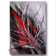 "ABSTRACT Art Red and black 36"" Painting modern artwork wall art Acrylic handmade canvas art"