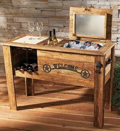 During summer, this pallet wooden cooler gives you not only cold but also chilled drinks. You can place them in a side box and in the center and also in lower portion you can keep the bottles and also having a nice table portion for keep glass. Outdoor Furniture Plans, Wooden Pallet Furniture, Wooden Pallets, Wooden Diy, Furniture Ideas, Furniture Stores, Rustic Furniture, Antique Furniture, Building Furniture