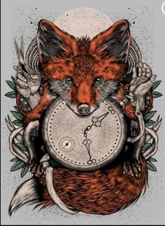 Fox tattoo Thigh tattoo, no bones no hands, more leaves and sunflowers