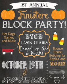 Custom Chalkboard Block Party Invitation by birdieandroost on Etsy