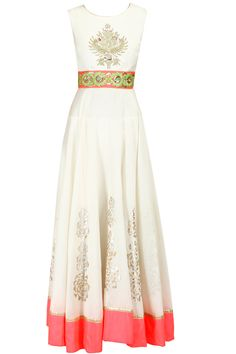 Off-white and pink embroidered anarkali set available only at Pernia's Pop-Up Shop.