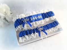 Police Wedding Garter Set -  Embroidered Blue Line Police Garters - Personalized Police Bridal Garter - Something Blue.