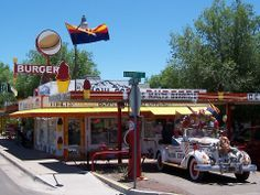 """Seligman, Arizona is with out a doubt the best """"fun spot"""" on Route 66. Have a bite to eat and then spend some time exploring the museum/gift shop next door."""