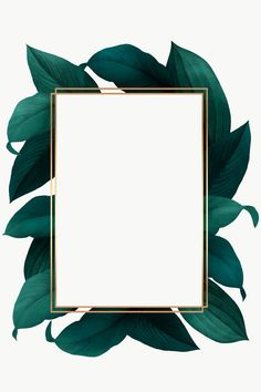 Download free png of Green leaves with golden rectangle frame design