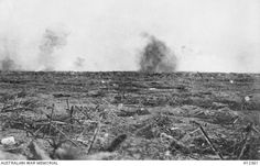 Images from the Somme Offensive 1916. Shells bursting above trenches in the Somme area.