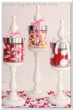 Valentine Apothecary Jars ~ How to make decorative apothecary jars and tips for filling the jars ~ Tutorial Cute Valentine Ideas, My Funny Valentine, Valentine Day Crafts, Valentine Decorations, Christmas Decorations, Valentine Party, Valentines Sweets, Spring Decorations, Printable Valentine